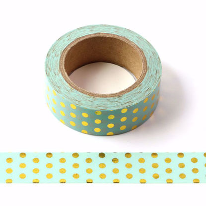 Picture of Green Polka Dot Foil Washi Tape
