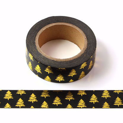 Christmas Tree Gold Foil Black Washi Tape