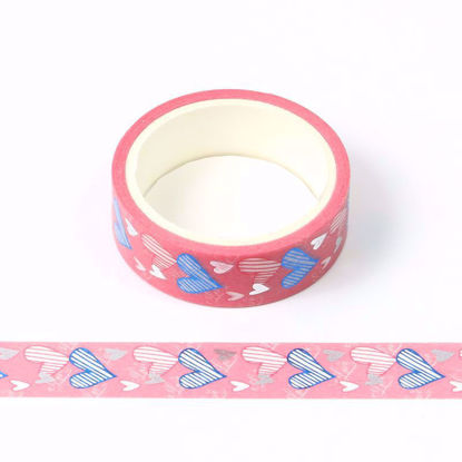 blue and silver foil heart washi tape