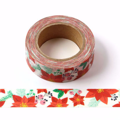 Five leaves Red flower washi tape