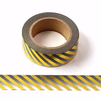 Picture of Ombre Black Stripe Foil Washi Tape