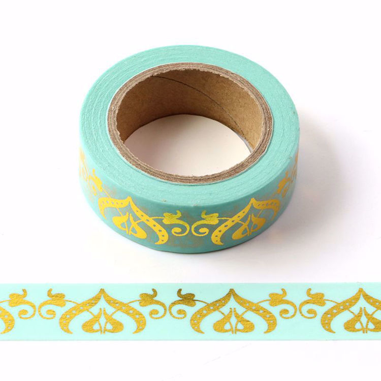 Heart Gold Foil Blue Washi Tape