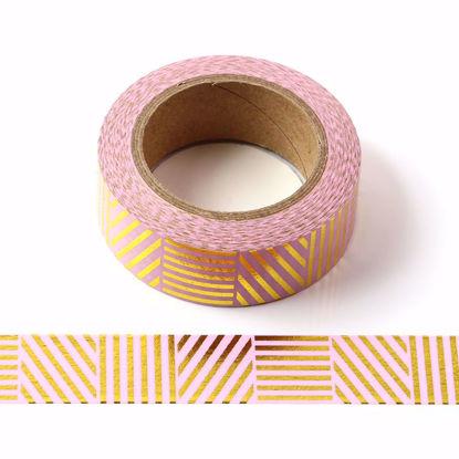 Stripes Gold Foil Pink Washi Tape