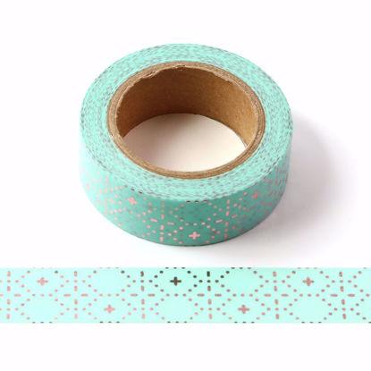 Geometrical Rose Gold Foil Blue Washi Tape