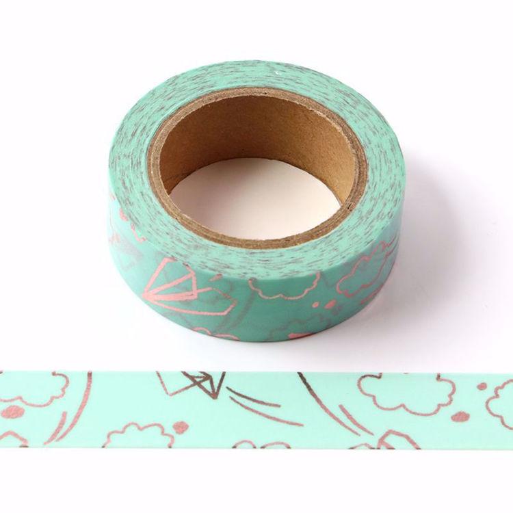 Paper Plane Rose Gold Foil Blue Washi Tape