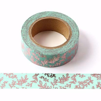 Plants Rose Gold Foil Blue Washi Tape