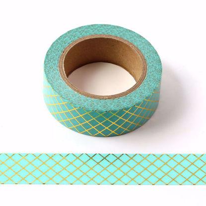 Grid Gold Foil Blue Washi Tape