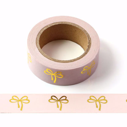 Bow Gold Foil Pink Washi Tape