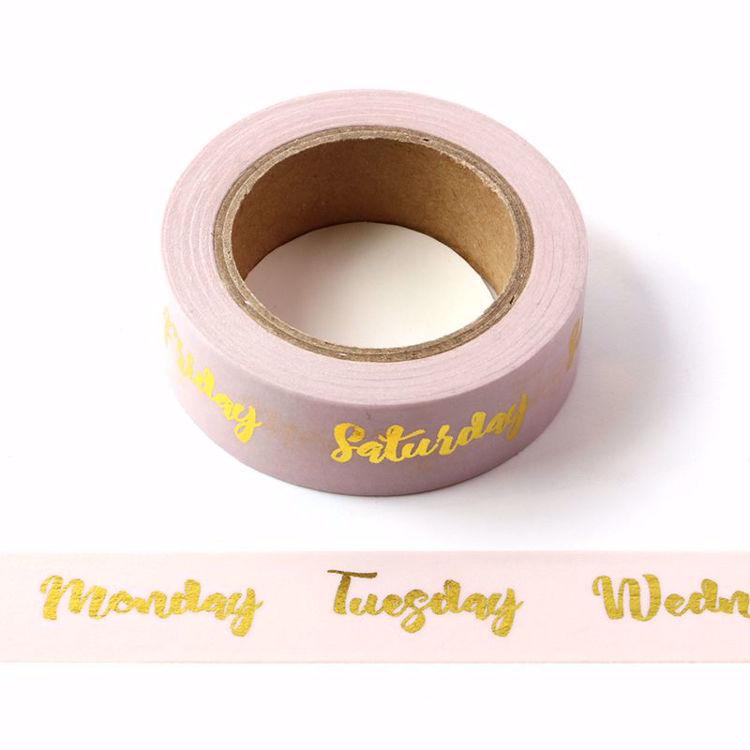 Week Gold Foil Pink Washi Tape