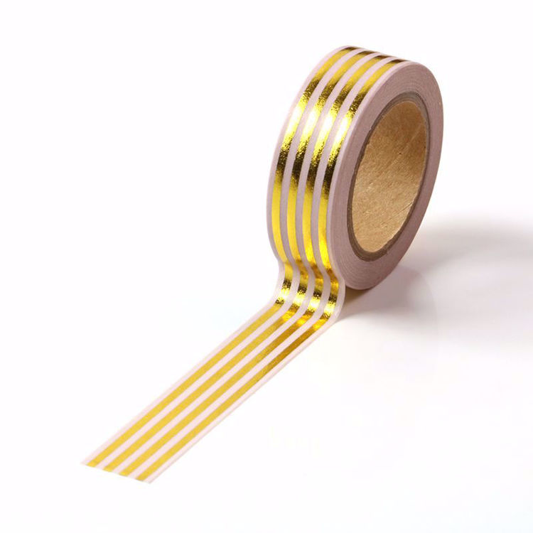 Lines Gold Foil Pink Washi Tape