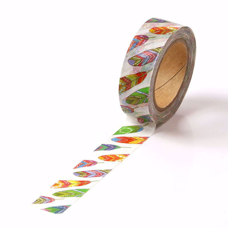 Colorful feathers printing washi tape