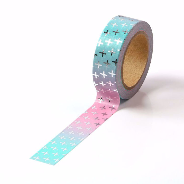 Cross Silver Foil Gradual Changed Color Washi Tape