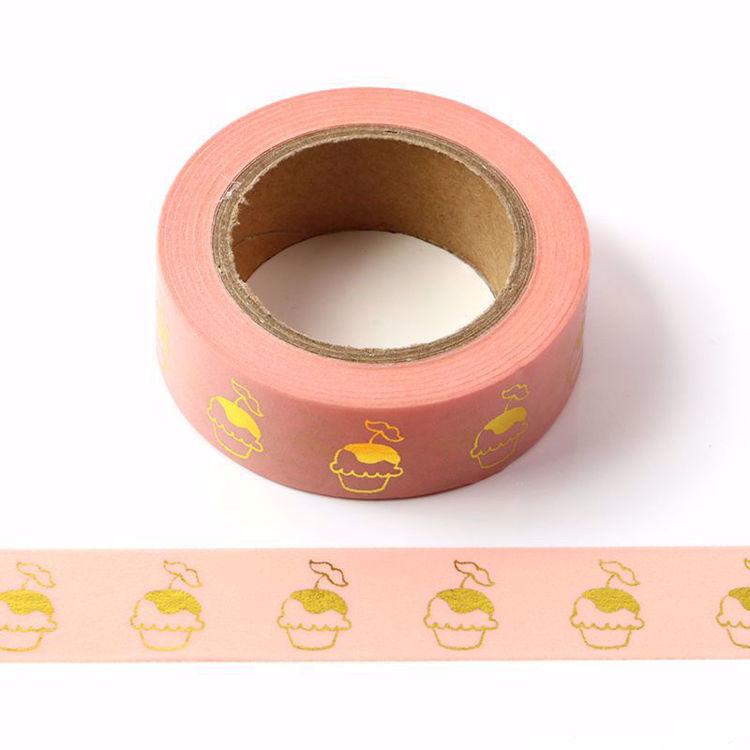 Cupcake Gold Foil Pink Washi Tape