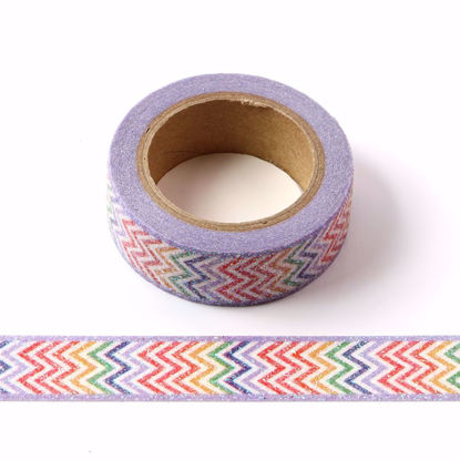Picture of Colored Chevron Stripe Sparkle Washi Tape