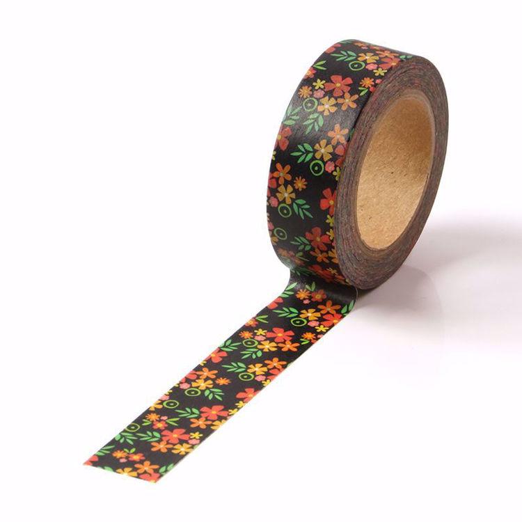 Black background flowers washi tape