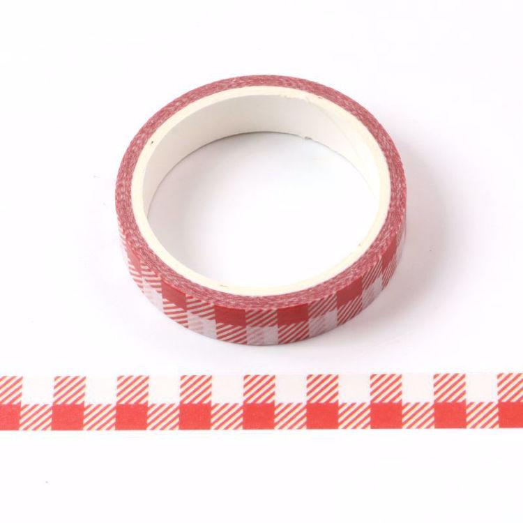 Red grid 10mm printing washi tape