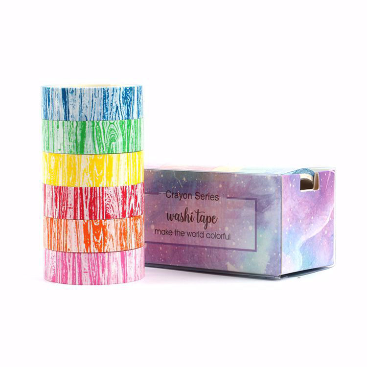 Crayon wood grain washi tape set