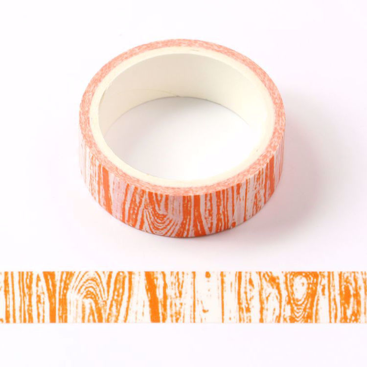 Crayon wood grain orange printing washi tape