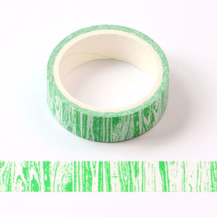 Crayon wood grain green printing washi tape