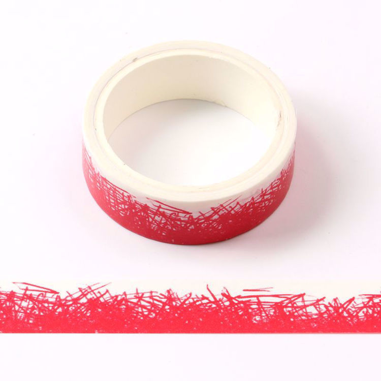 crayon grass red printing washi tape