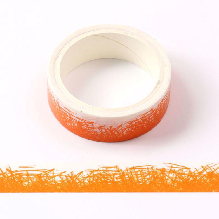 crayon grass orange printing washi tape