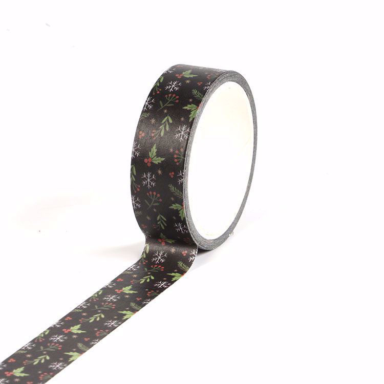 Black flowers Christmas printing washi tape