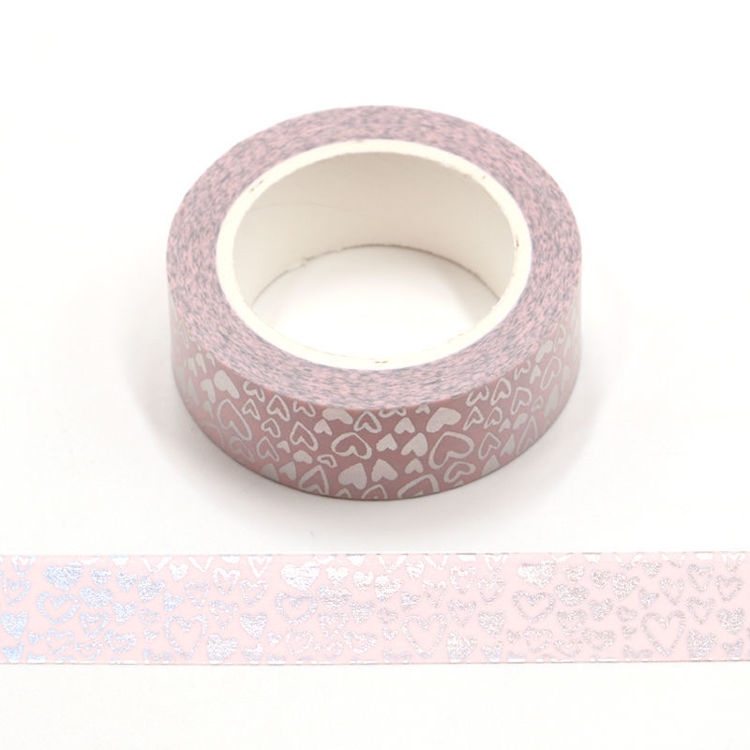 heart love silver foil washi tape