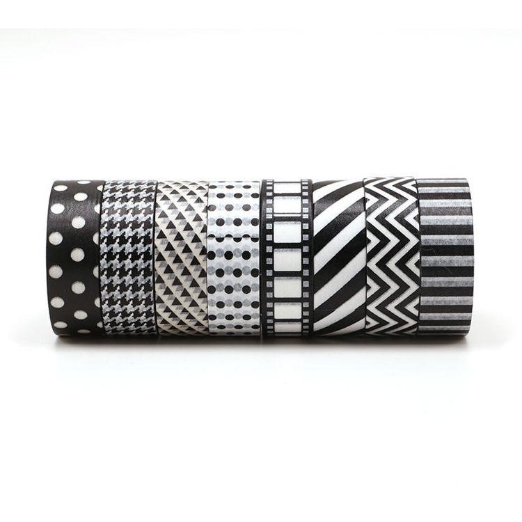 8 rolls black style washi tape sets