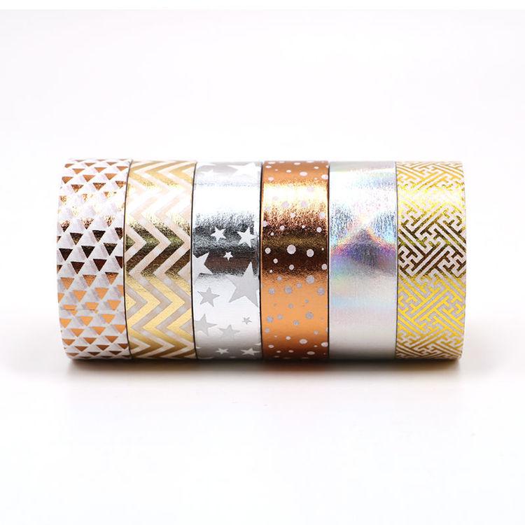 Modern gold sliver printing foil washi tape