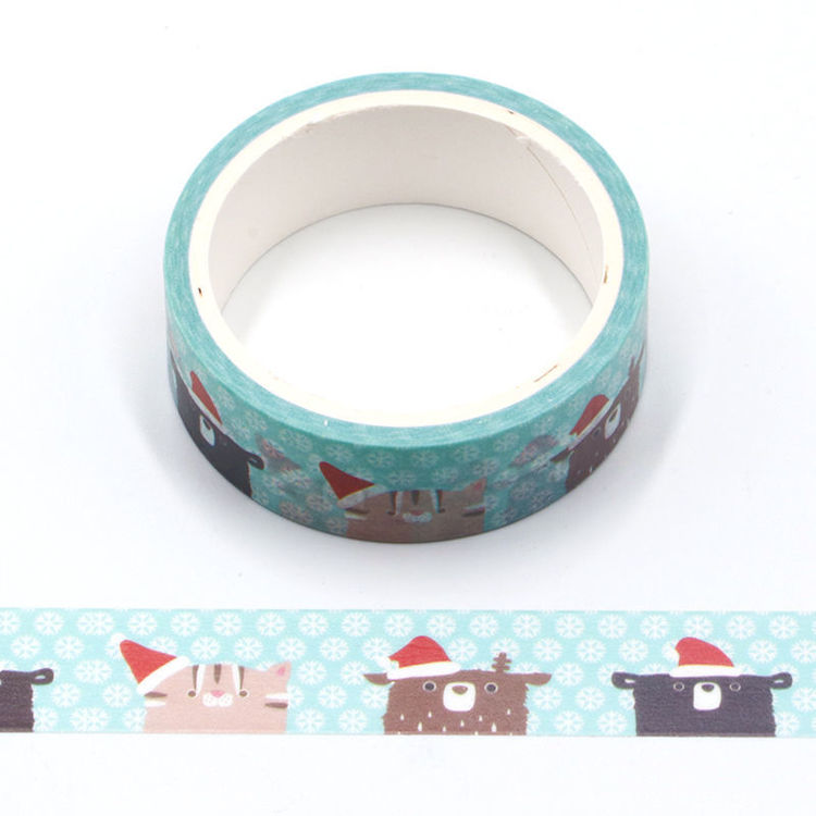 Cartoon animal Christmas hat printing washi tape
