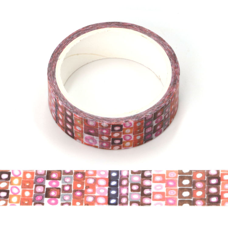 Watercolor red color point printing washi tape