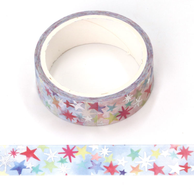 colorful star sliver star foil washi tape