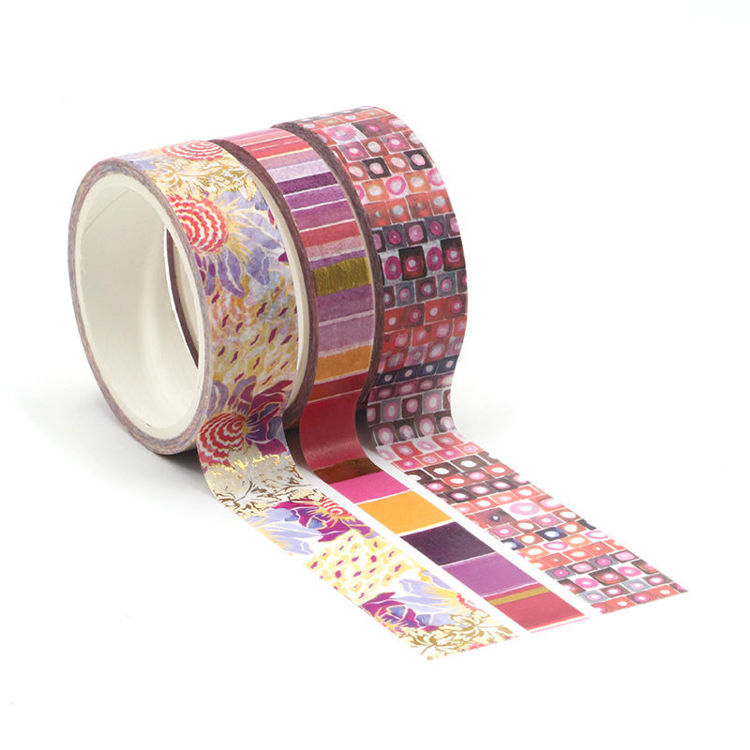 Watercolor red color point printing washi tape set