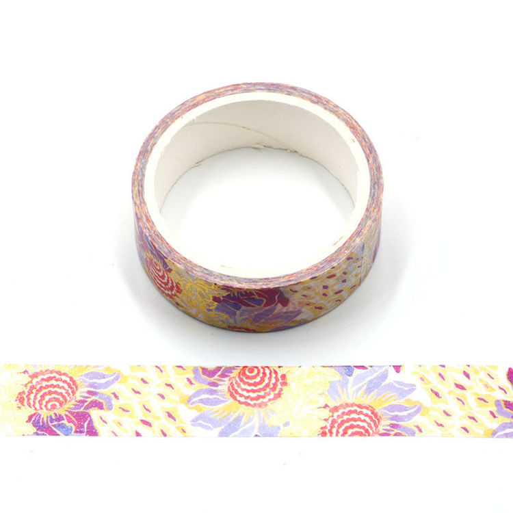 Watercolor red color sunflower printing washi tape