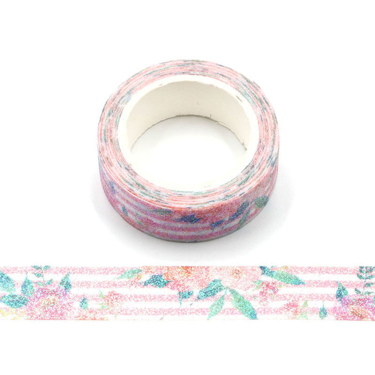 Valentine's day flower rose pink sparkle tape