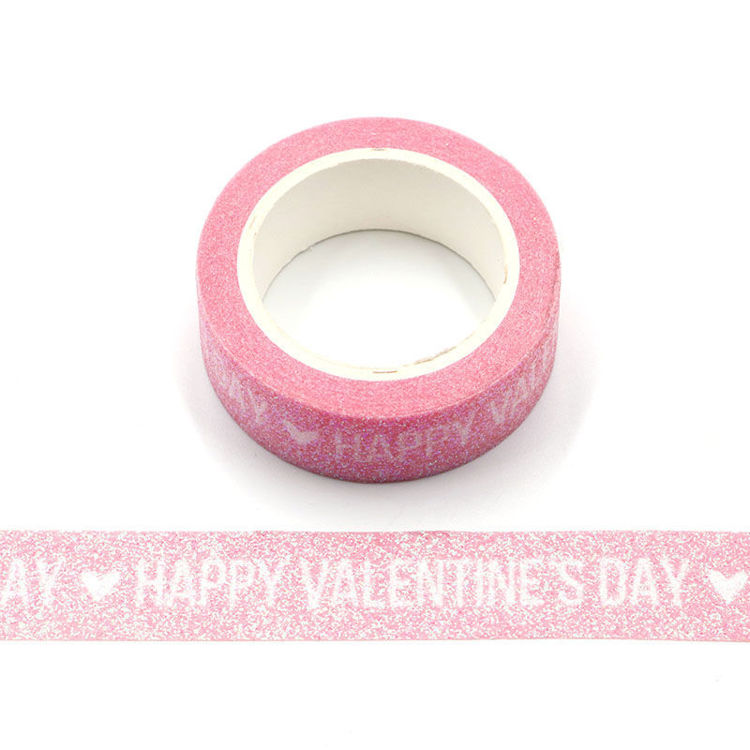 Happy Valentine's day words pink sparkle tape