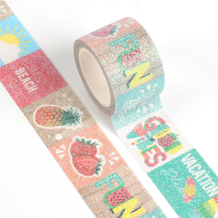 Tropical summer fruit printing sparkle washi tape