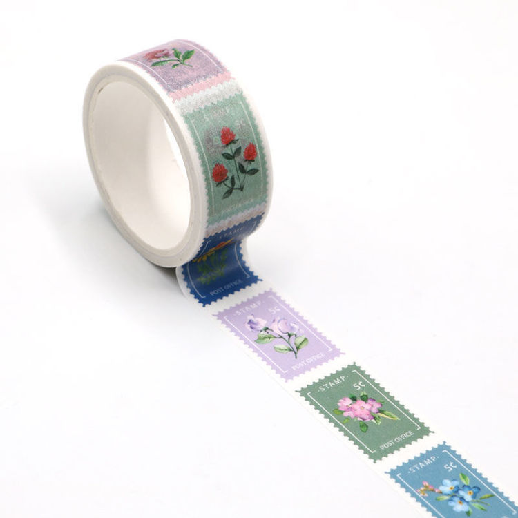 Flowers stamps easy tear washi tape