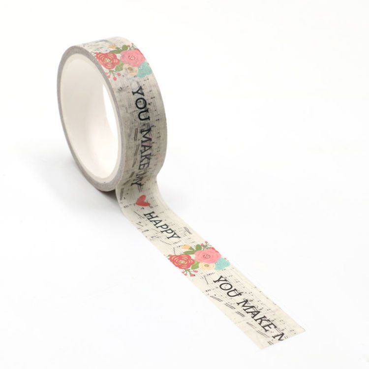 Flowers and music printing washi tape 15mm*5m
