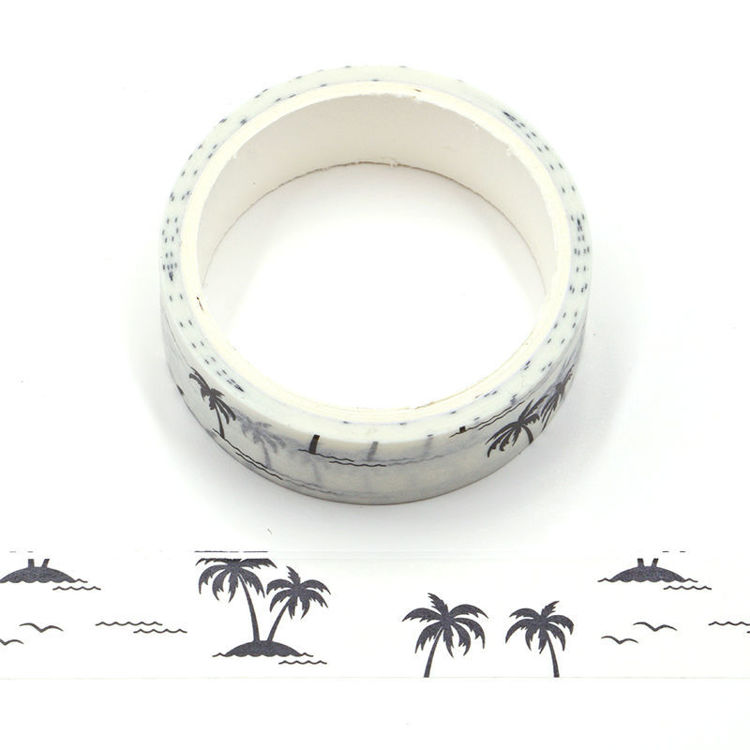 Silhouette of Coconut Trees White Washi Tape