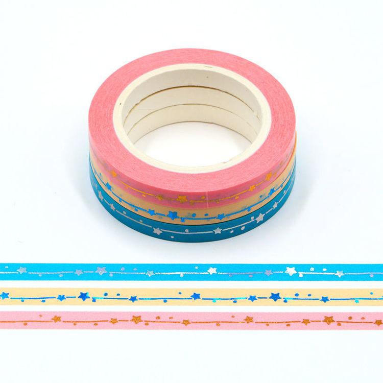 5mm Gold foil pink blue washi tape set