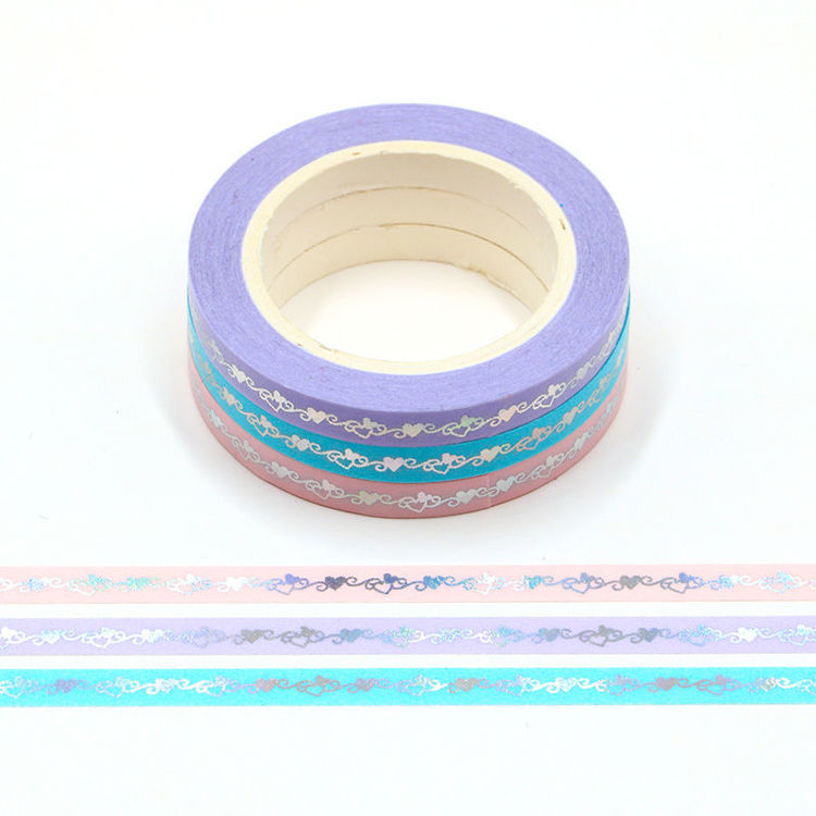 5mm Gold foil heart totem purple pink washi tape set