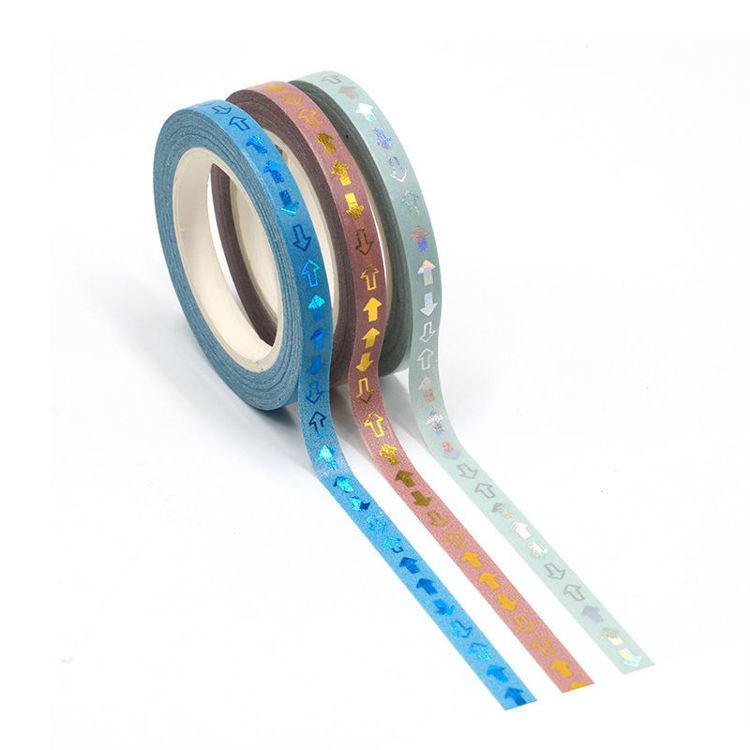 5mm Gold foil arrows brown blue washi tape set