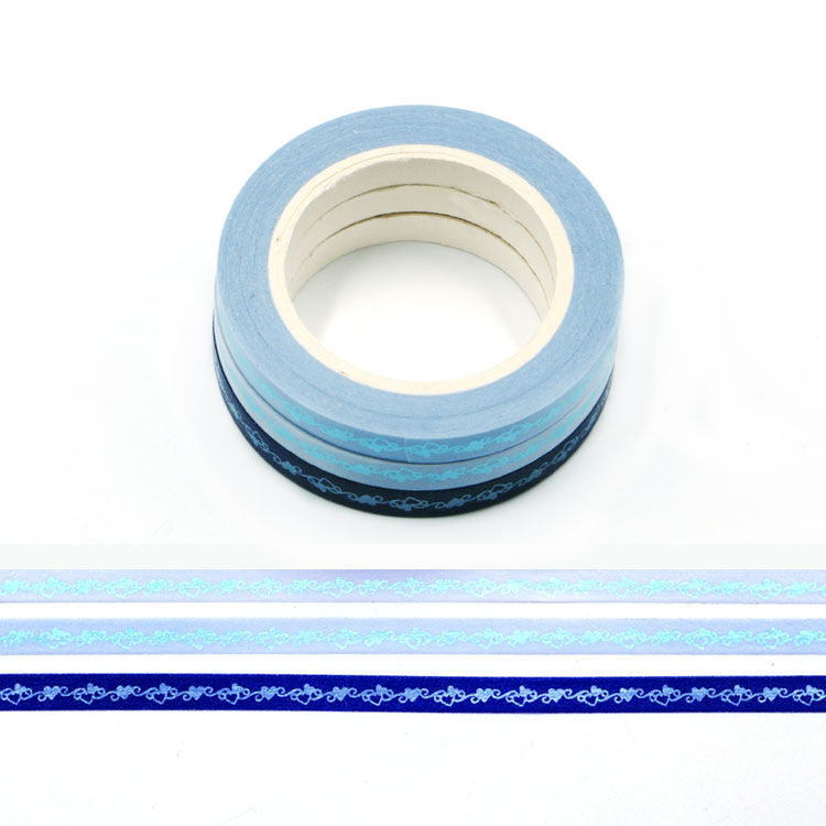 5mm x 3Rolls 10m Blue Series Gold Foil Loving Heart Washi Tape Set