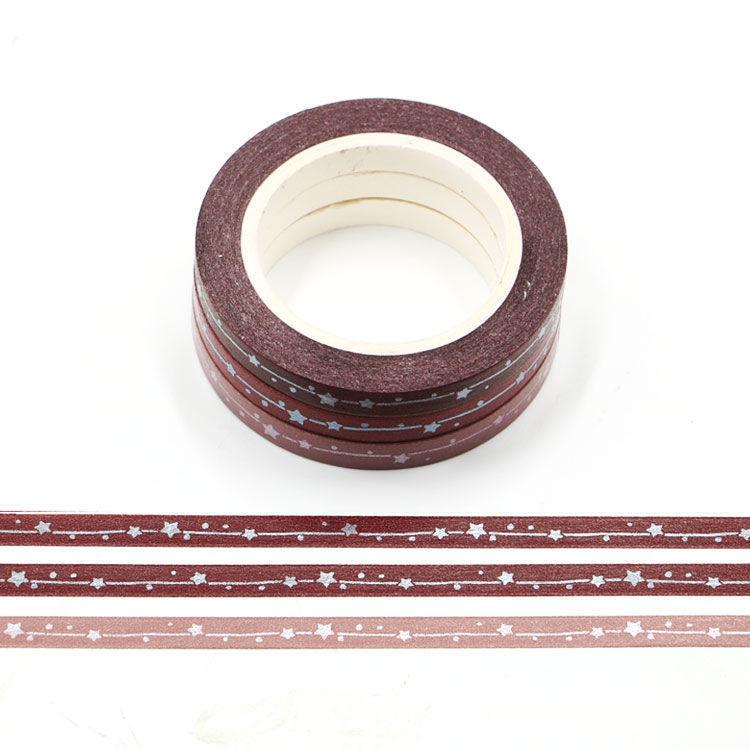 5mm x 3Rolls 10m Chocolate Color Series Matt Shooting Star Washi Tape Set