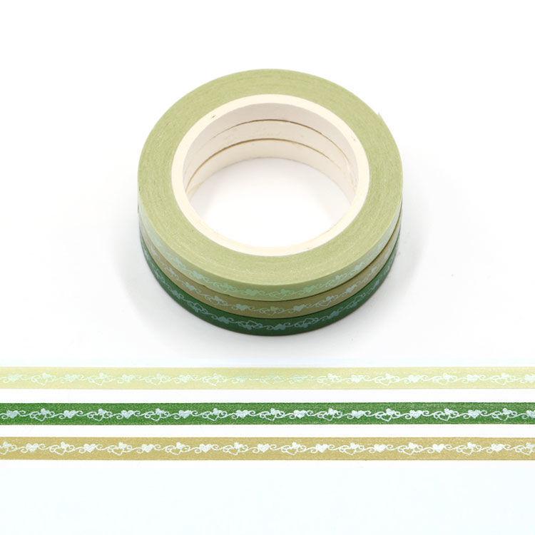 5mm x 3Rolls 10m Green Series Matt Loving Heart Washi Tape Set