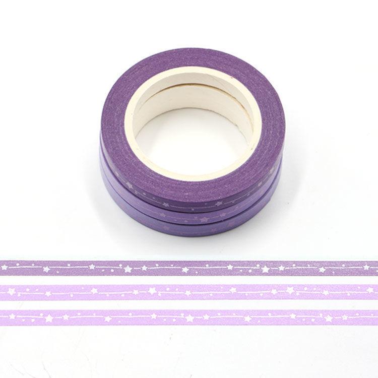 5mm x 3Rolls 10m Purple Series Matt Shooting Star Washi Tape Set
