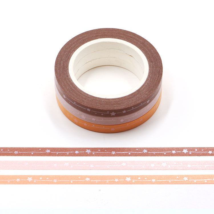 5mm x 3Rolls 10m Warm Color Series Matt Shooting Star Washi Tape Set