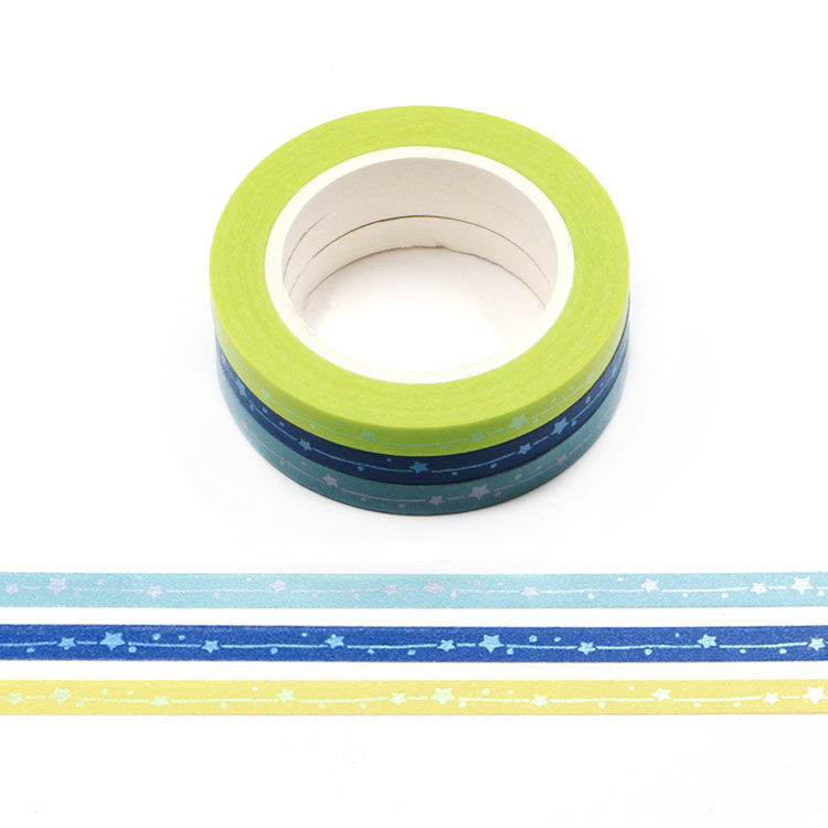 5mm x 3Rolls 10m Matt Shooting Star Washi Tape Set