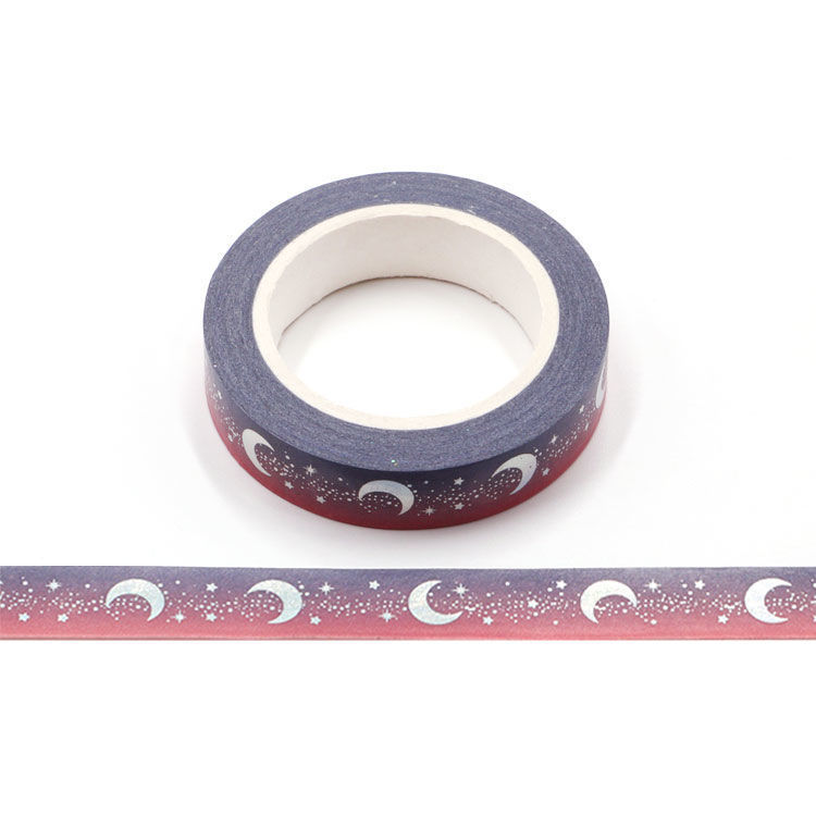 10mm x 10m Silver Holographic Foil CMYK Starry Sky Moon Washi Tape
